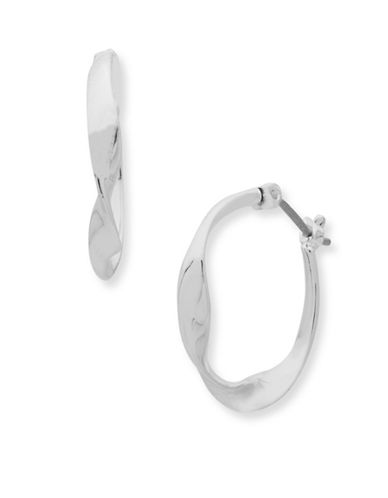 Nine West With a Twist Hoop Earrings-SILVER-One Size