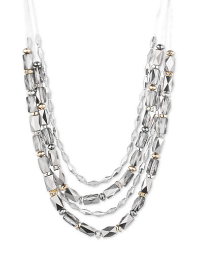 Nine West Glistening Beads Crystal Multi Strand Necklace-GREY-One Size
