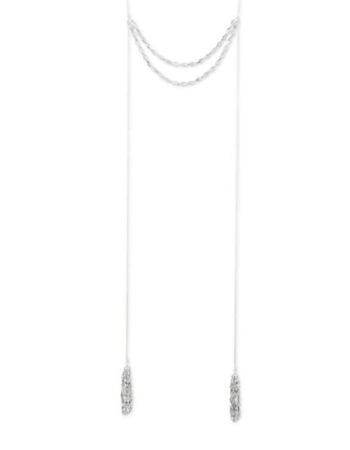 Nine West Glistening Beads Crystal Double Strand Necklace-GREY-One Size