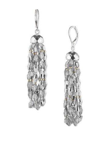 Nine West Glistening Beads Crystal Chandelier Drop Earrings-GREY-One Size