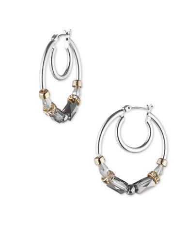 Nine West Glistening Beads Crystal Double Hoop Earrings-GREY-One Size