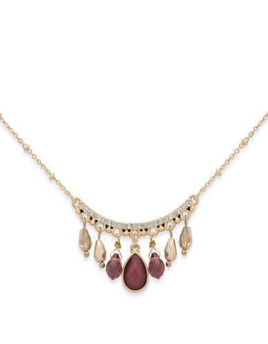 Lonna & Lilly Beaded Statement Necklace-BURGUNDY-One Size