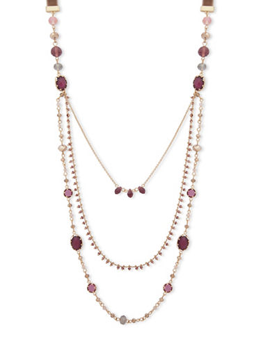 Lonna & Lilly Multi Strand Bead Necklace-BURGUNDY-One Size
