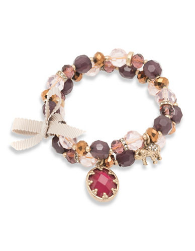 Lonna & Lilly 12k Gold Plated Beaded Bracelet-BURGUNDY-One Size
