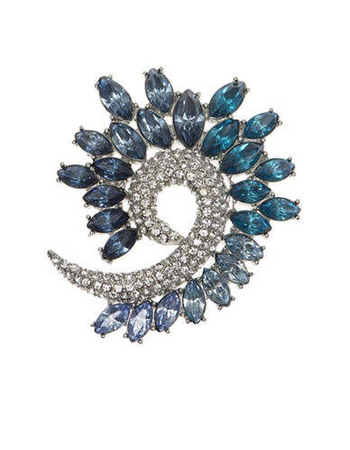 Anne Klein Crystal Boxed Swirl Pin-BLUE-One Size