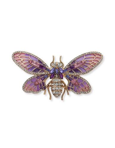 Anne Klein Crystal Butterfly Boxed Pin-PURPLE-One Size