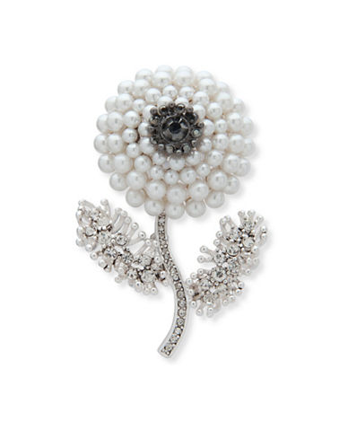 Anne Klein Freshwater Pearl & Crystal Flower Boxed Pin-WHITE-One Size