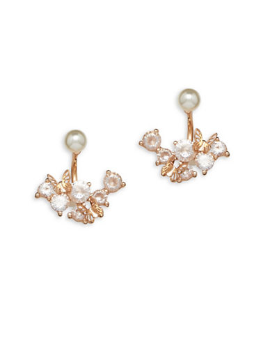 Cezanne Rose Goldtone Jacket Earrings-WHITE-One Size