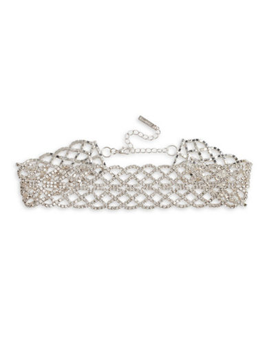 Cezanne Crystal-Embellished Silver Choker-CRYSTAL-One Size