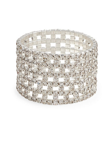 Cezanne Crystal Stretch Silver Bracelet Cuff-CRYSTAL-One Size