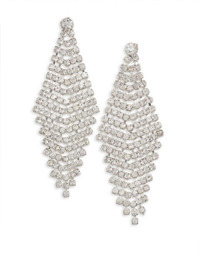 Cezanne Crystal-Embellished Silver Chandelier Earrings-CRYSTAL-One Size