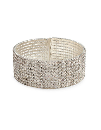 Cezanne Crystal-Embellished Silver Cuffs Bracelet-CRYSTAL-One Size