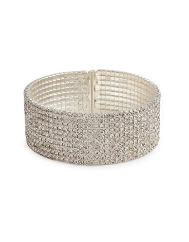 Cezanne Crystal Embellish Silver Cuffs Bracelet-CRYSTAL-One Size