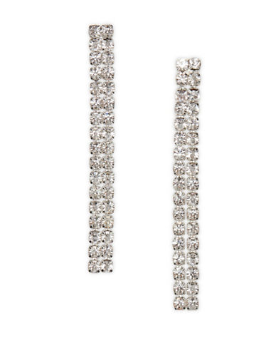 Cezanne Crystal-Embellished Silver Linear Earrings-CRYSTAL-One Size