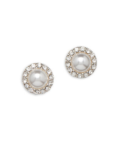 Cezanne Faux Pearl Stud Earrings-WHITE-One Size