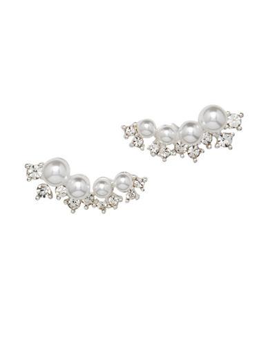 Cezanne Faux Pearl Crawler Earring-WHITE-One Size