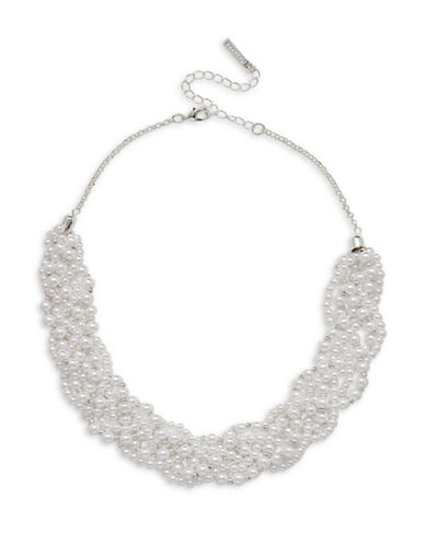 Cezanne Faux Pearl Braided Necklace-WHITE-One Size