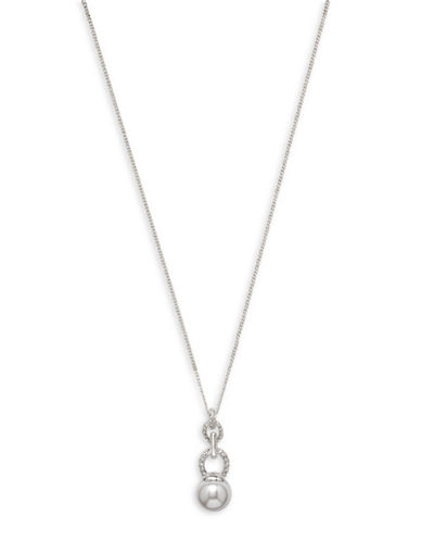 Cezanne Faux Pearl Pendant Necklace-WHITE-One Size