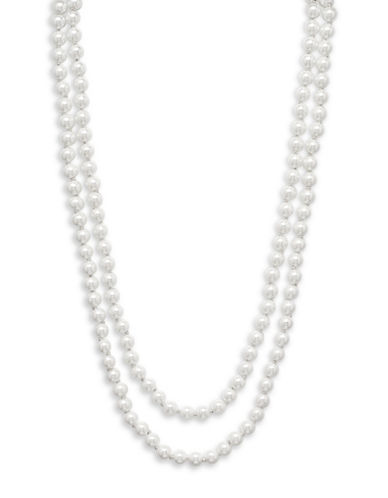 Cezanne Faux Pearl Strand Necklace-WHITE-One Size