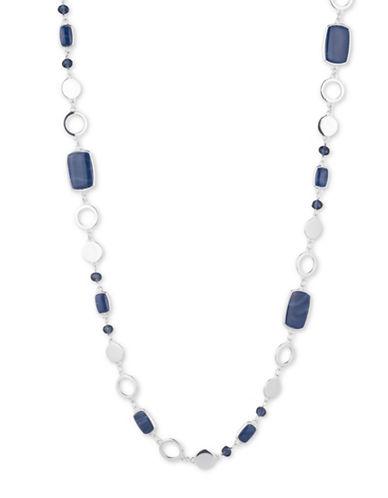 Nine West Denim Treasures Long Necklace-BLUE-One Size