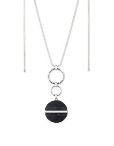 Nine West Linked Pendant Necklace-BLACK-One Size
