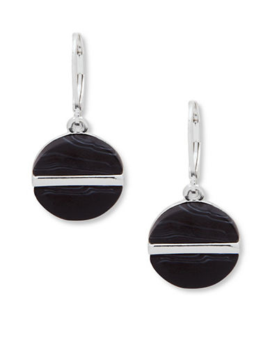 Nine West Single Drop Pierced Earrings-BLACK-One Size