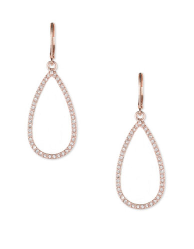 Anne Klein Rose Goldtone Crystal Teardrop Earrings-ROSE GOLD-One Size