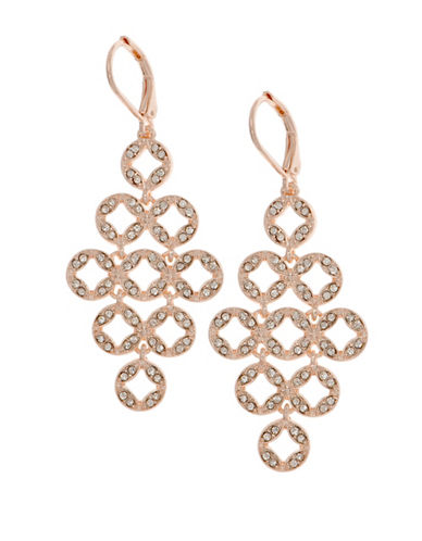 Anne Klein Rose Goldtone Pave Crystal Chandelier Earrings-ROSE GOLD-One Size