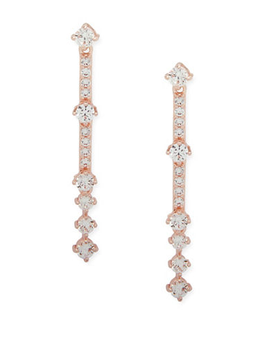 Anne Klein Rose Goldtone Crystal Linear Earrings-ROSE GOLD-One Size
