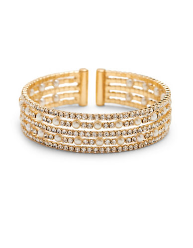 Cezanne Simulated Faux Pearl and Crystal Cuff Bracelet-GOLD-One Size
