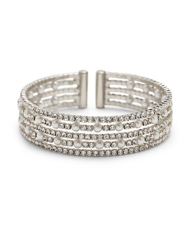 Cezanne Simulated Faux Pearl and Crystal Cuff Bracelet-SILVER-One Size
