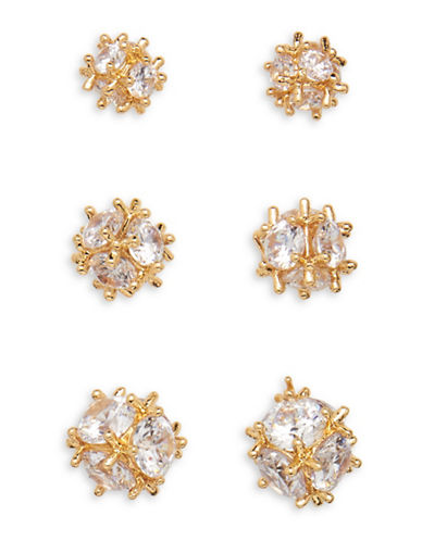 Cezanne Three-Pair 14K Goldplated Crystal Stud Earrings Set-GOLD-One Size