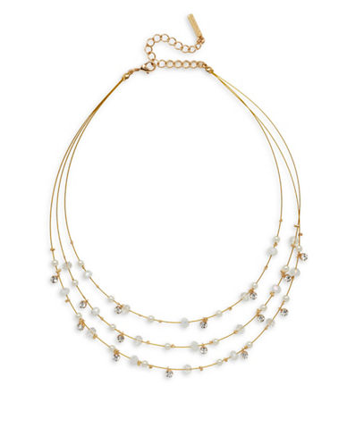 Cezanne Crystal and Faux Pearl Illusion Multi Strand Necklace-IVORY-One Size