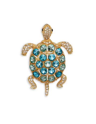 Anne Klein Crystal Turtle Pin-GREEN-One Size