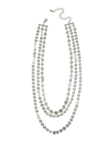 Canvas Three-Row Link Disc Necklace 89838685