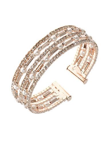 Anne Klein Multi-Row Faux Pearl Bracelet-PINK-One Size
