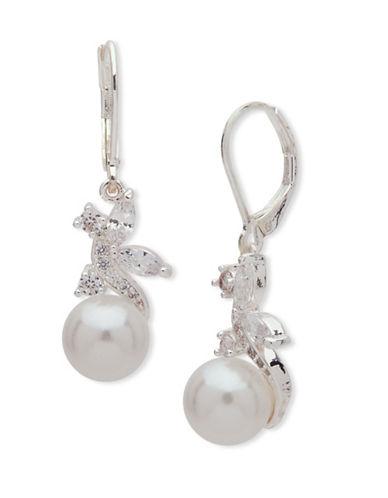 Anne Klein Faux Pearl Flower Drop Earrings-WHITE-One Size