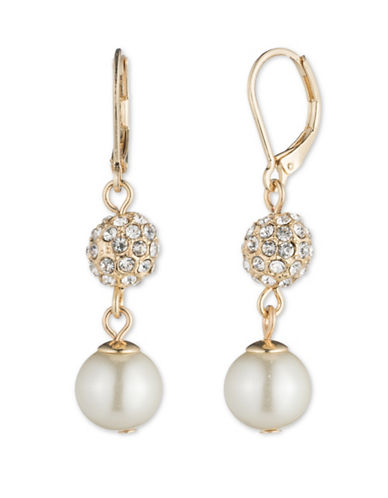 Anne Klein Crystal Ball Drop Earrings-WHITE-One Size