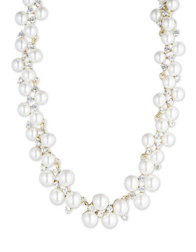 Anne Klein Faux Pearl and Crystal Necklace-WHITE-One Size