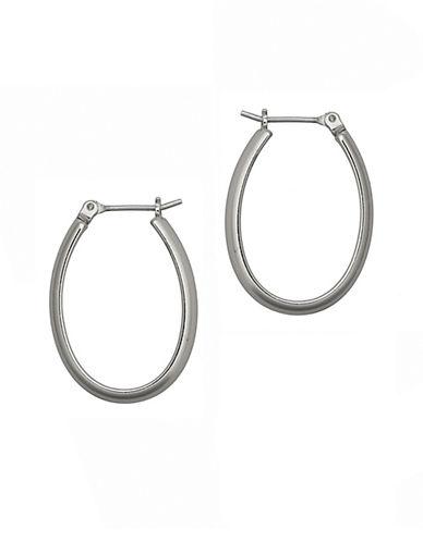 Nine West Pe Oval Hoop Earring-SILVER-One Size