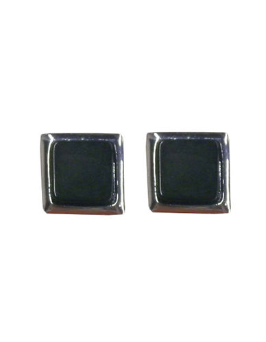 Nine West Square Stud Earring-BLACK-One Size