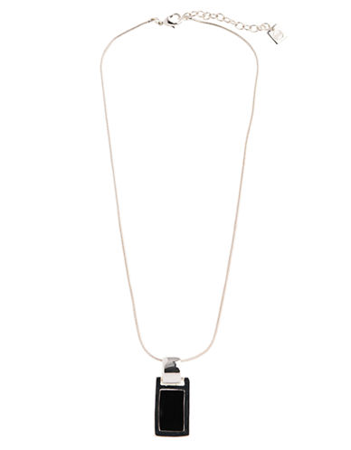 Nine West Silver Tone Metal Snake Chain Necklace-BLACK-One Size