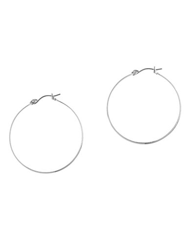 Nine West Basic large hoop earrings in silver tone metal.-SILVER-One Size