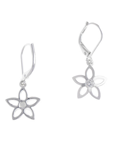 Nine West Leverback Flower Earring-SILVER/CRYSTAL-One Size