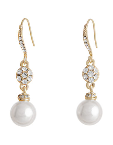 Cezanne Crystal And Pearl Drop Earring-IVORY-One Size