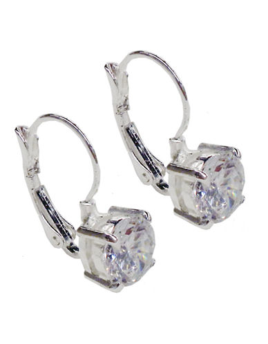 Nine West Euro Crystal Drop Earring-SILVER-One Size
