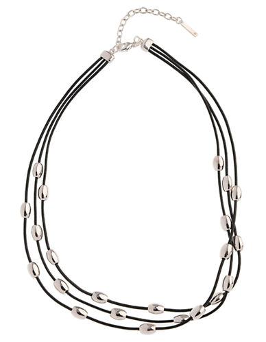 Nine West 16 Inch 3 Row Oval Necklace-BLACK-One Size