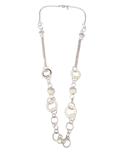 Nine West Long Metal Disc Necklace-SILVER-One Size