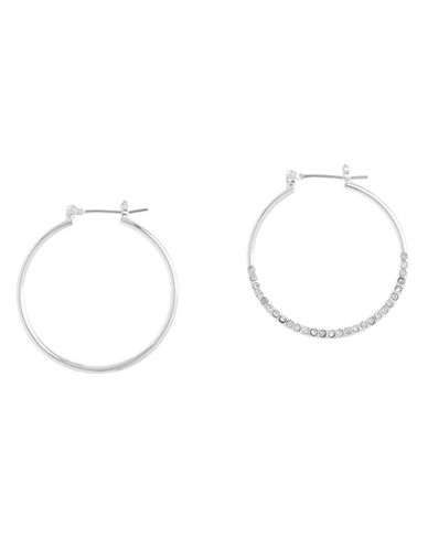 Nine West Click It Hoop Earring In Silver Tone Metal With Crystal Stones-SILVER-One Size
