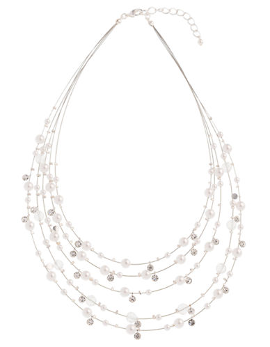Cezanne Illusion Necklace With Pearl and Crystal-WHITE-One Size